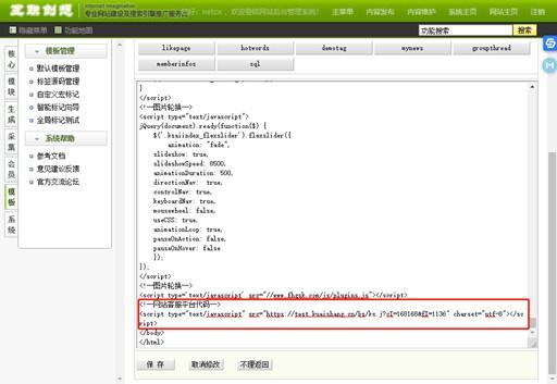 将代码添加到网站模板中